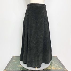 Vtg 90s Frontier Collection suede cowgirl skirt